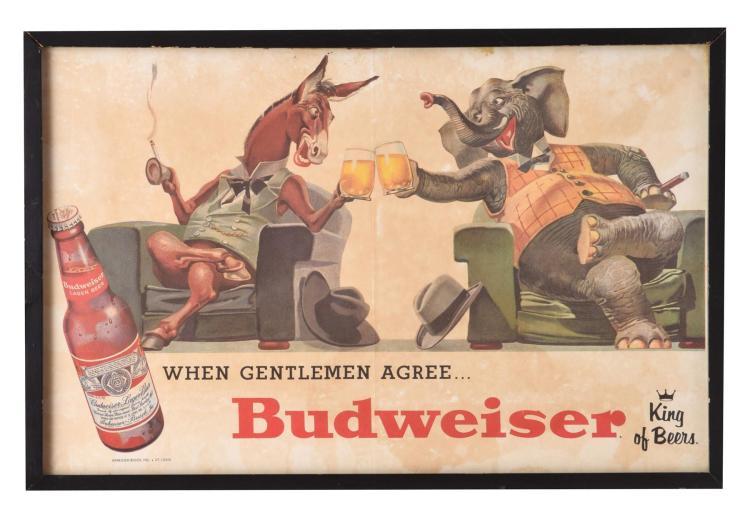 BUDWEISER POLITICAL CAMPAIGN ADVERTISEMENT.