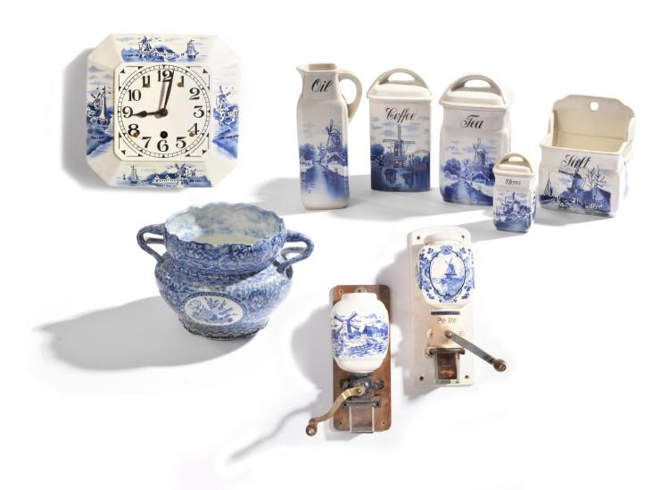 LARGE BLUE AND WHITE PORCELAIN SPICE SET.