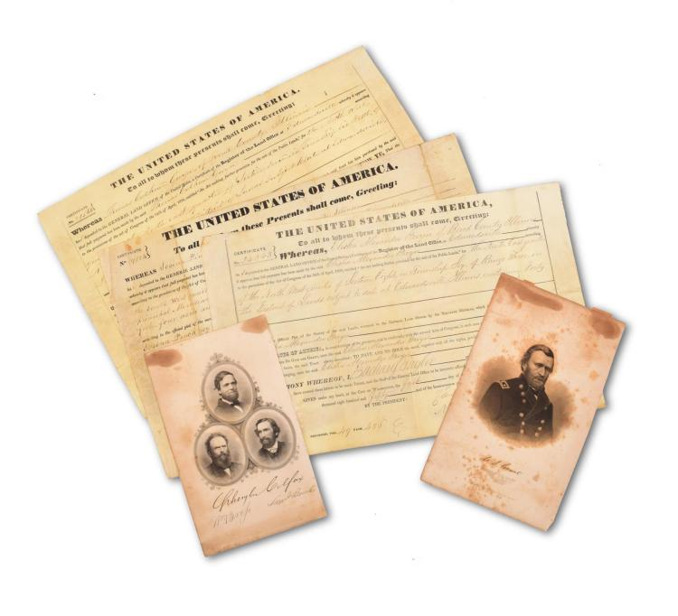 TWO OLD LAND GRANTS SIGNED BY HISTORICAL FIGURES.
