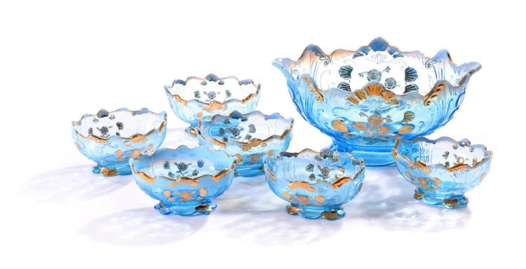 SEVEN PIECES NORTHWOOD BLUE GLASS.