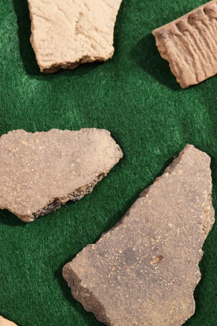 MISSISSIPIAN POTTERY SHARDS.