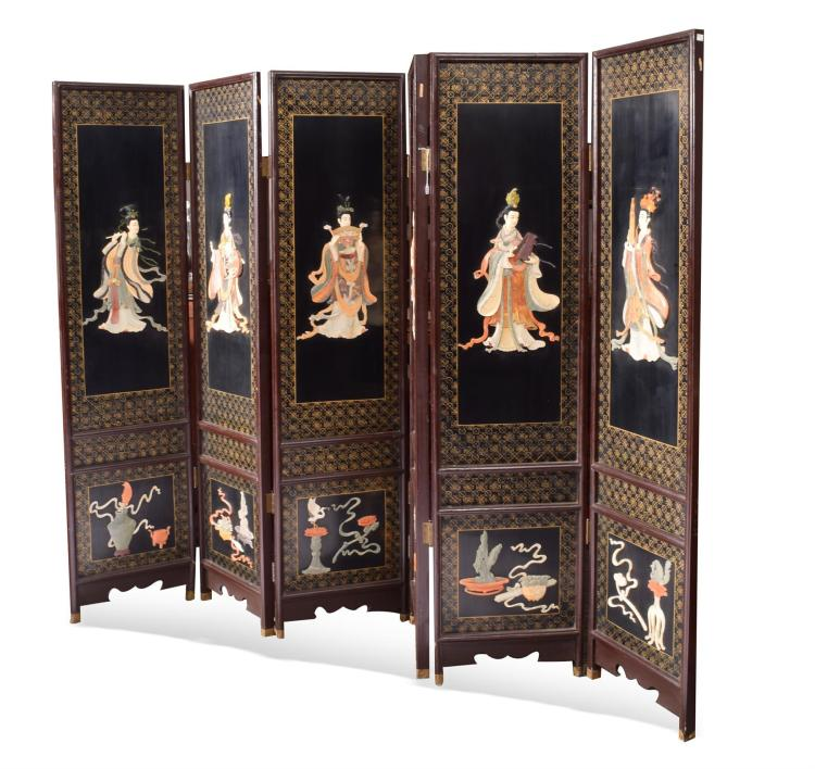 SIX PANEL ASIAN SCREEN.