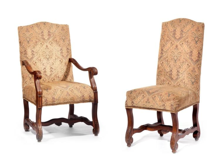 SET OF SIX FRENCH COUNTRY STYLE CHAIRS.