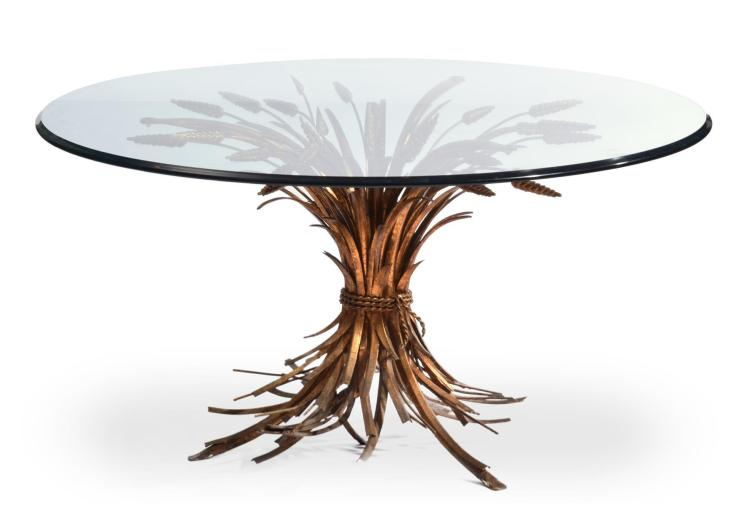 ROUND GLASS TOP WHEAT TABLE.