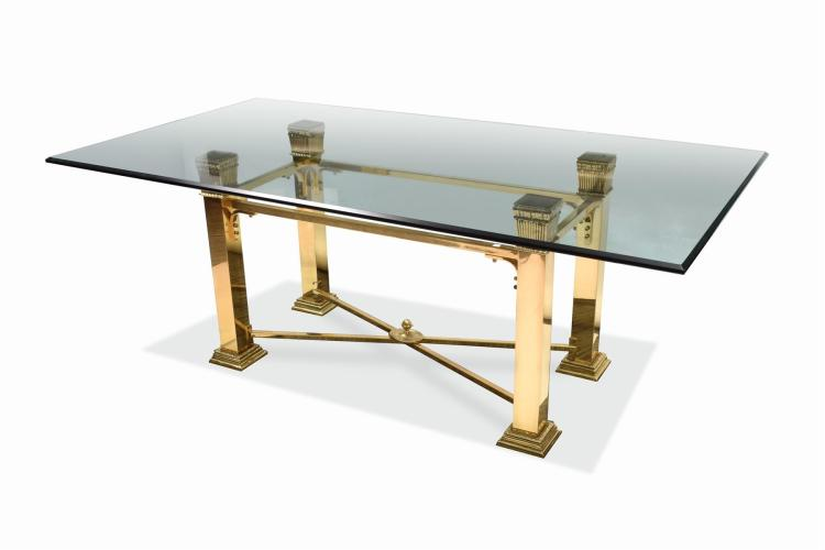 GLASS TOP DINING TABLE.