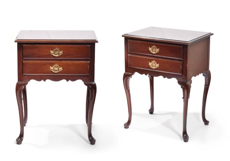 PAIR END TABLES BY HICKORY.