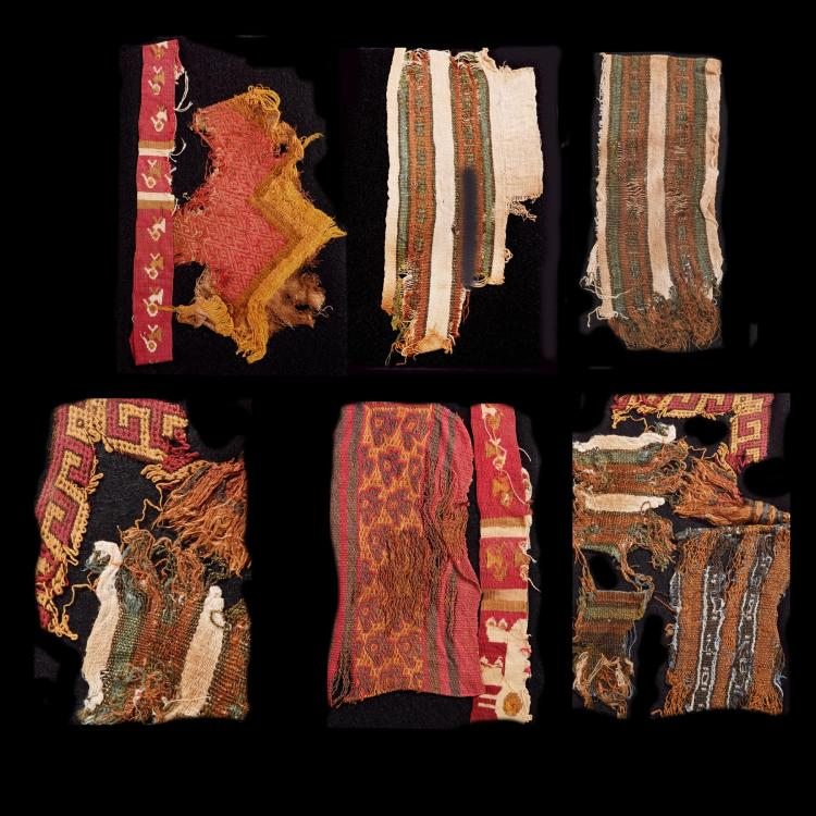NAZCA VALLEY MUMMY SHROUD FRAGMENTS.