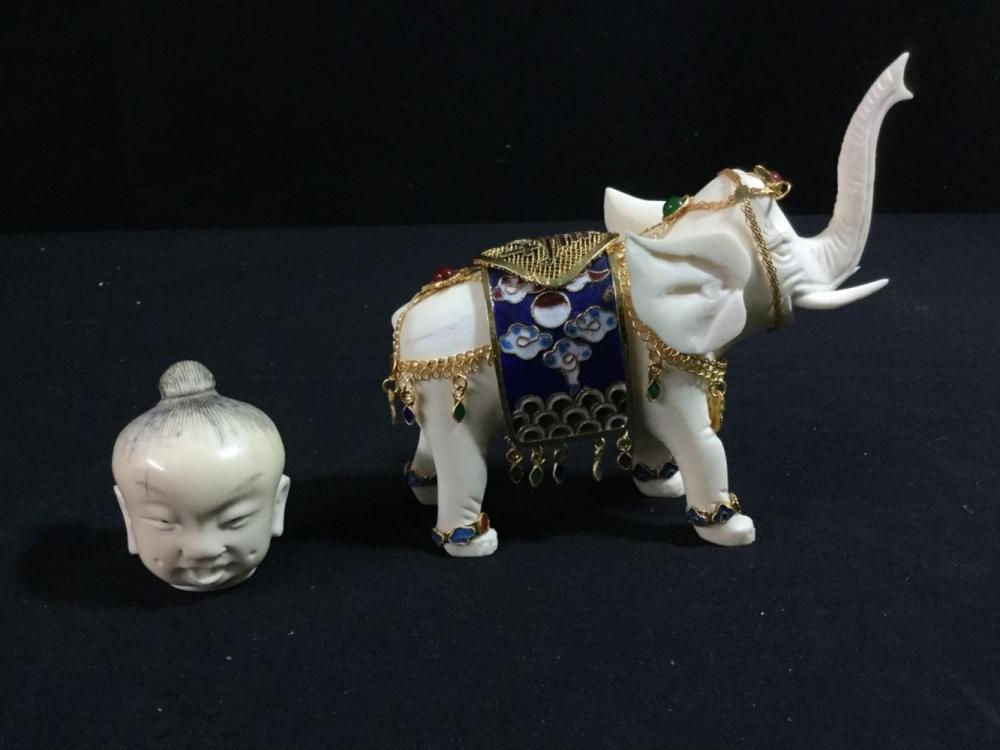 Carved Ivory Ivory Bone Elephant