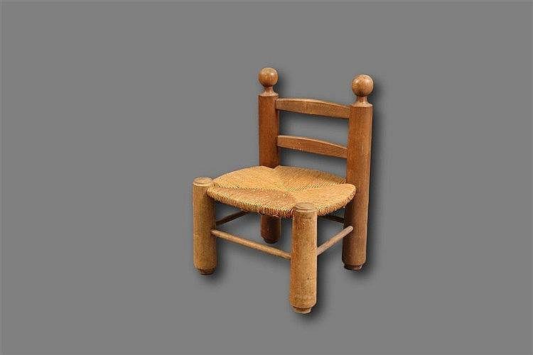 Chaise d 39 enfant en h tre teint dossier barette et assise for Chaise en hetre