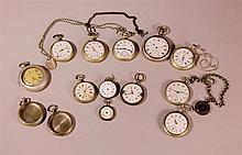 Lot comprenant 2 montres de col et 2 montres de gousset en argent, Poids brut_185g ; on y joint 9 montres, 2 boitiers en métal (Argentan) et divers