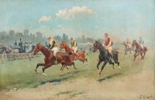 "EUGENIO GÓMEZ MIR (Granada, 1877 - 1938). ""Horse race"". Oil on canvas."