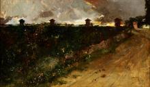 "SALVADOR SÁNCHEZ-BARBUDO MORALES (Jerez de la Frontera, Cádiz, 1857 - Rome, 1917). ""Fire in Rome"". Oil on canvas."