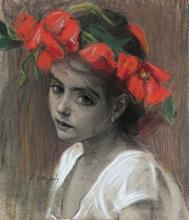 """BALDOMERO GILI ROIG (Lleida, 1873 - Barcelona, 1927). """"Girl with a crown of flowers"""". Pastel on paper."""