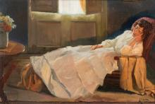 """LLUÍS MASRIERA ROSÉS (Barcelona, 1872 - 1958). """"Lady sleeping"""". Oil on canvas. Signed in the lower right corner. Size: 50 x 75 cm; 70 x 95 cm (frame)."""