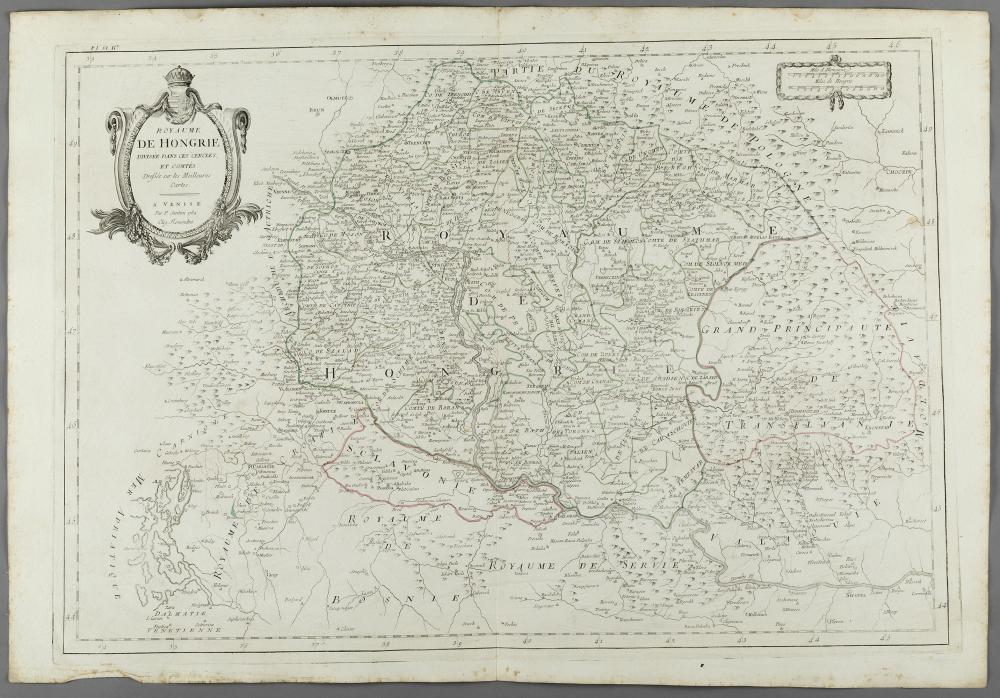 """""""KINGDOM OF HUNGARY"""", map belonging to the """"Atlas Universel, dressé sur les meilleures cartes modernes"""", second half of the 18th century. Illuminated engraving (color demarcations). Edition M. Remondini, Venice, 1784."""