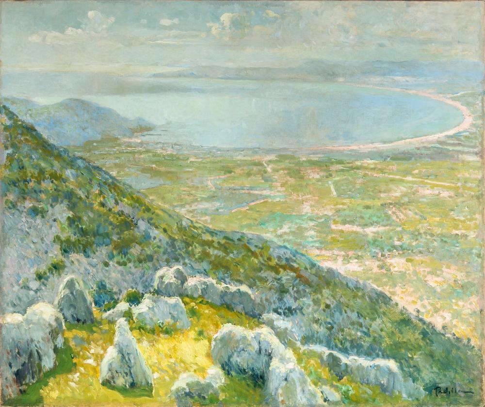 "RAFAEL MARÍA MARTÍNEZ PADILLA (Málaga, 1878 - Barcelona, 1961). ""Bay of Roses"", Costa Brava. Oil on canvas."