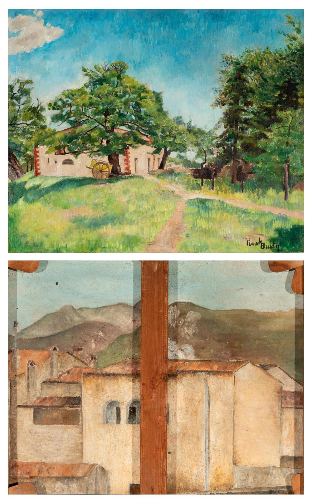 """FRANK BURTY HAVILAND (Limoges, 1886 - Perpignan, 1971). """"Mansion"""" and """"Houses of Ceret"""". Oil on canvas, painted on both sides."""