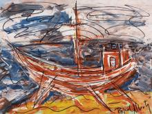 "RAFAEL ALBERTI (El Puerto de Santa María, Cádiz, 1902 - 1999). ""Boat"". Mixed media on cardboard. Signed in the lower right corner."
