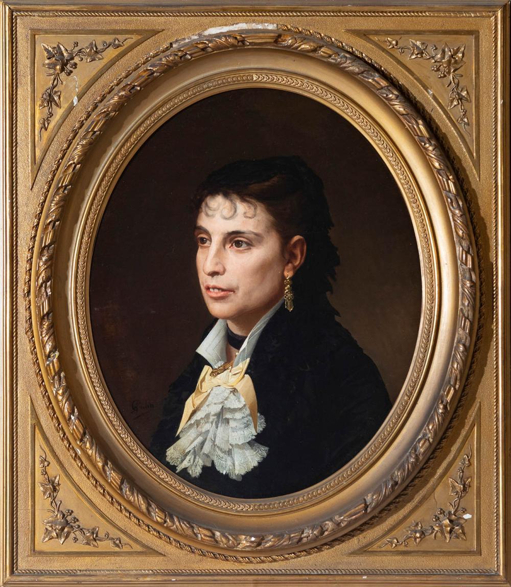 "ANTONIO CABA CASAMITJANA (Barcelona, 1837 - 1907). ""Portrait of a lady"". Oil on canvas. Vintage frame in gold stucco."