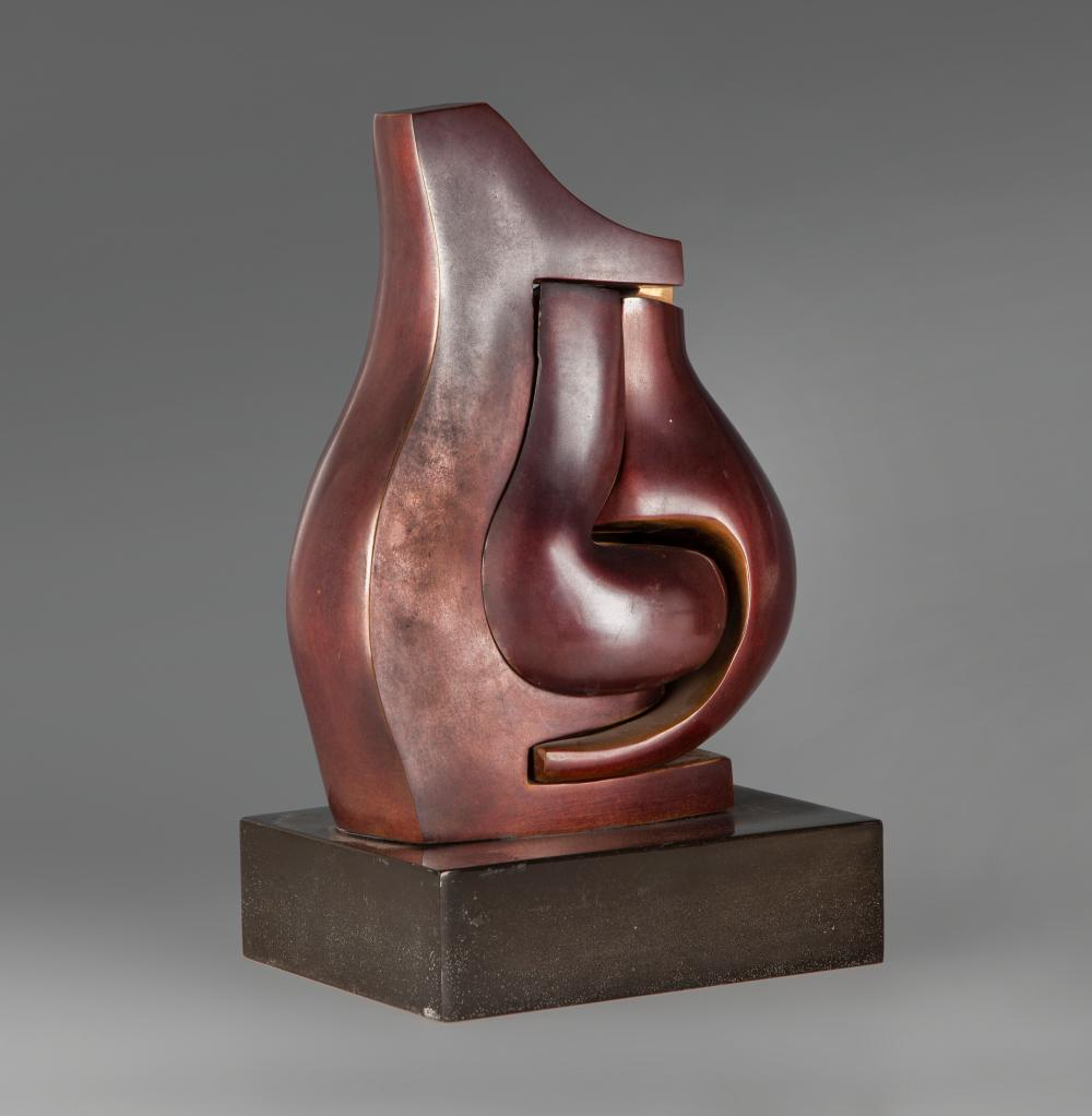 """LIANE KATSUKI (Entre Rios, Brazil, present). """"Triade of Amon"""", 2004. Bronze sculpture in 4 parts with reddish-brown patina and polished gloss. Marble base."""