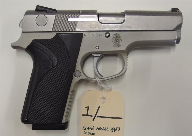 Lot 1: SMITH & WESSON Model 3953 9mm Semi-Auto Pistol, Marked: N.P.D. 091