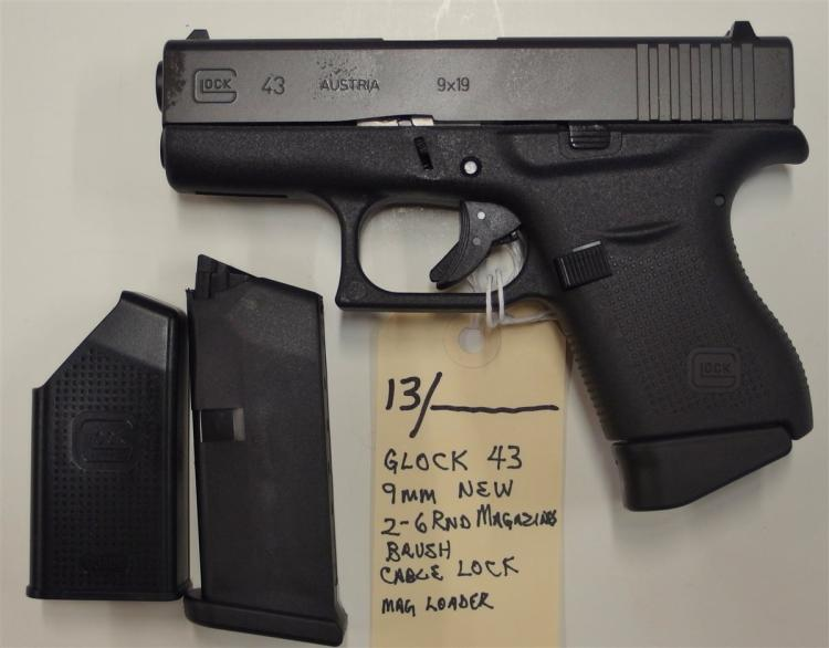 Lot 13: GLOCK 43 9mm Semi-Auto Pistol, NIB, 2 – 6rd Mags