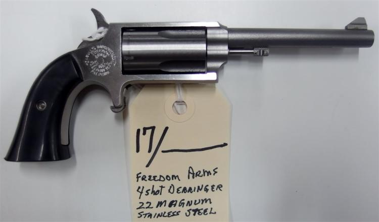 Lot 17: FREEDOM ARMS Model Casull's Improvement .22 Magnum Diminutive Spur Trigger Derringer Pistol, 4-Shot