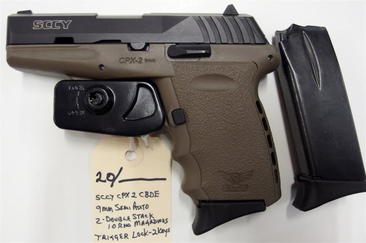 Lot 20: SCCY Model CPX-2CBDE 9mm Semi-Auto Pistol, NIB