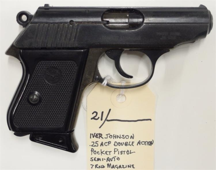 Lot 21: IVER JOHNSON .25 ACP Double Action Pocket Pistol, Semi-Auto