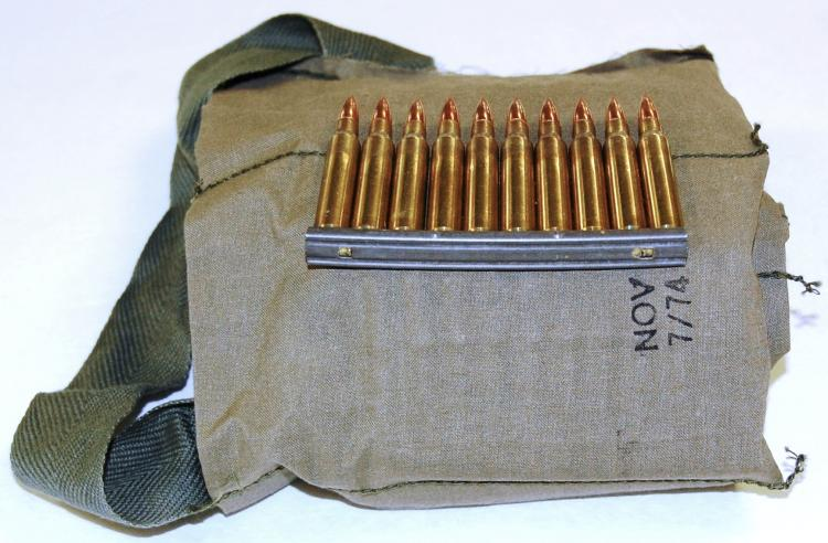.223 Ammo Military, 140 Rounds in Military Shoulder Strap with Clips Loaded, 14 Clips with 10 Rounds each