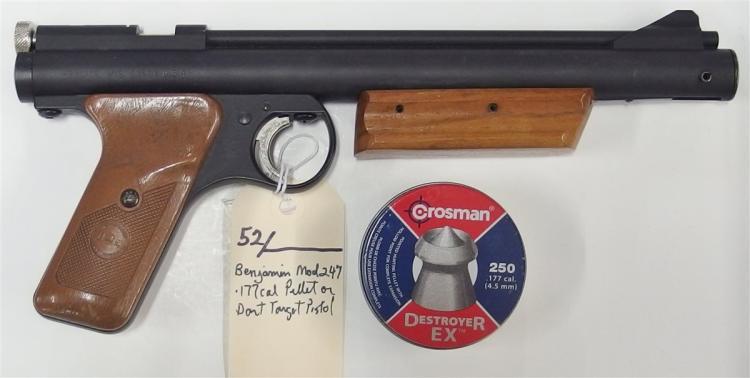Lot 52: BENJAMIN Model 247 .177 cal High Compression Target Pistol. Shoots darts / pellets.