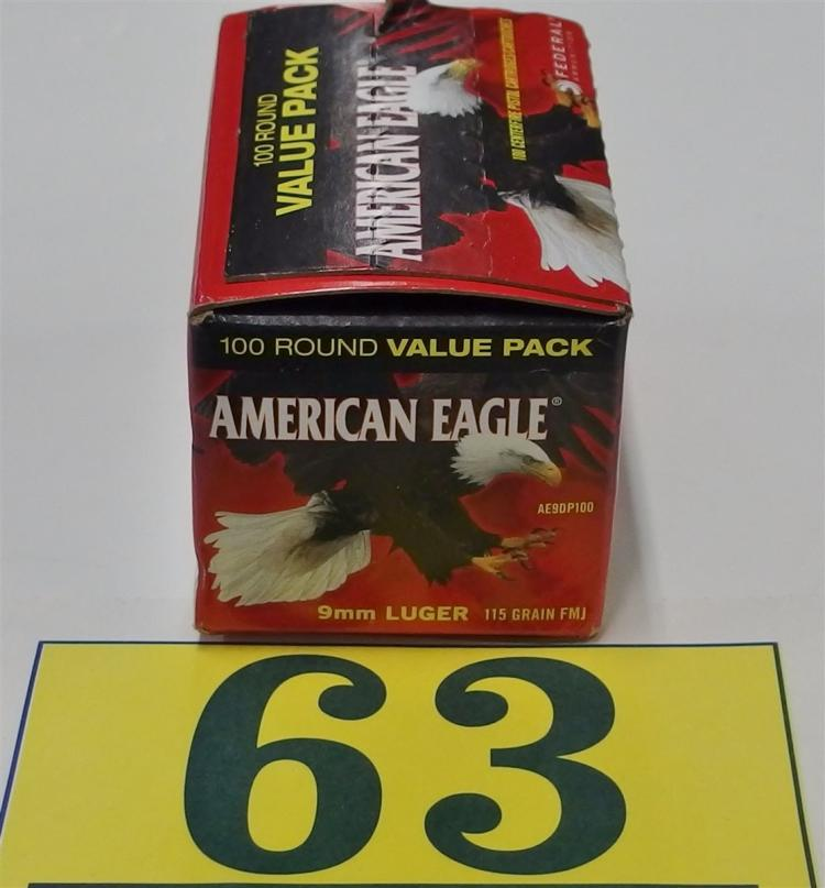 American Eagle 9mm Luger 115gr FMJ Ammo, 100 Rounds