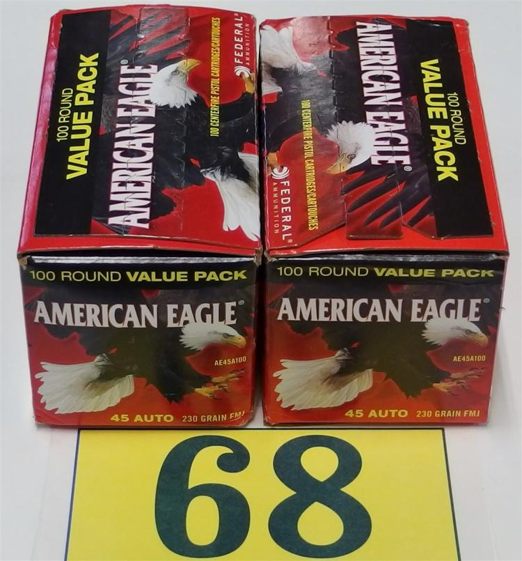 Lot 68: American Eagle .45 ACP 230gr FMJ Ammo, 200 Rounds
