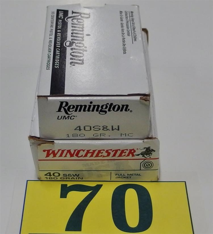 Lot 70: Assorted .40 S&W 180gr FMJ Ammo, 100 Rounds