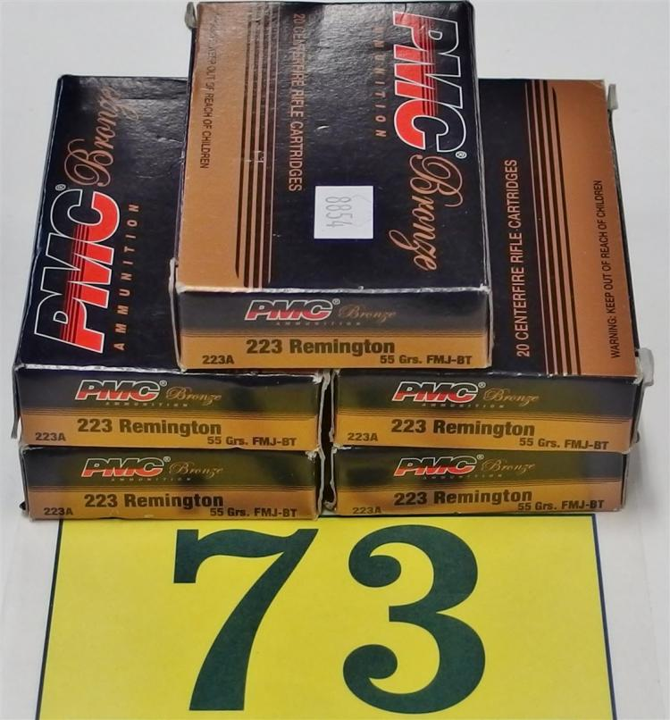 PMC .223 Remington 55gr FMJ Ammo, 100 Rounds