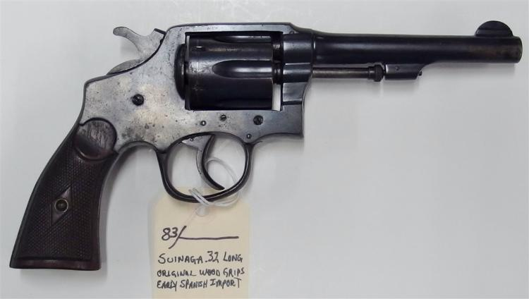 Lot 83: SUINAGA .32 Long Revolver, Early Spanish Import, Original Wood Grips