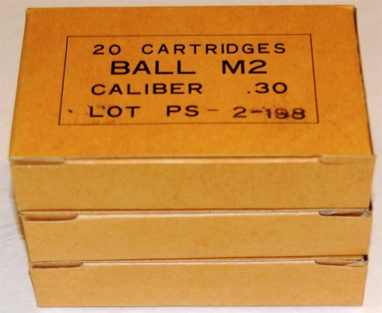 30-06 M2 Ball Ammo .30 cal, Military, 60 Rounds - 3 Boxes of 20 each
