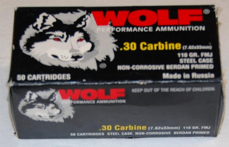 Wolf .30 cal. Carbine 7.62 X 33 Ammo, 50 Rounds