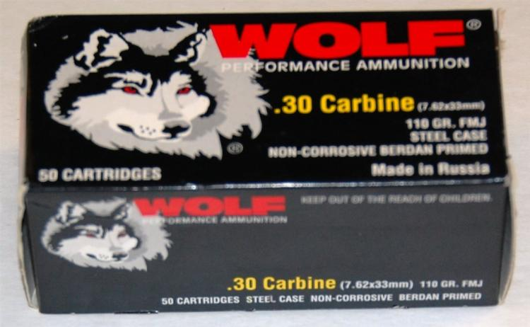 Lot 103: Wolf .30 cal. Carbine 7.62 X 33 Ammo, 50 Rounds
