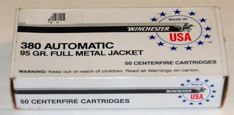 Winchester .380 cal. Ammo, 50 Rounds