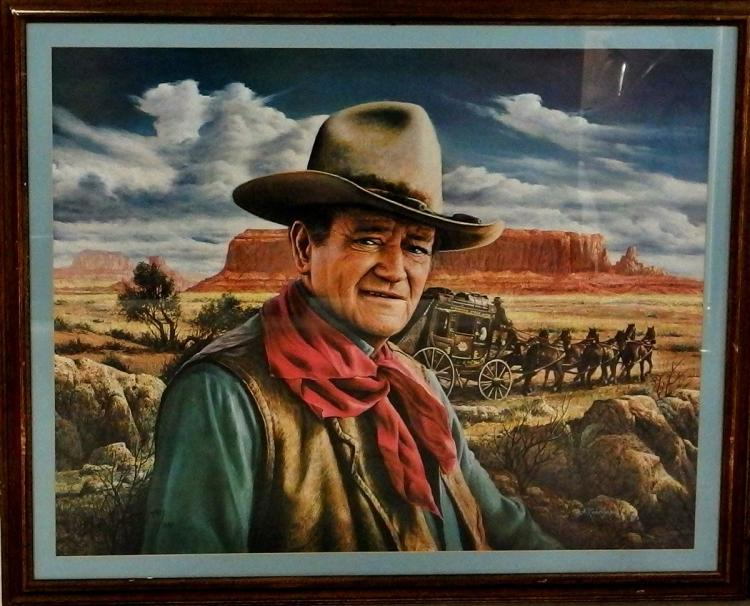 Lot 95A: JOHN WAYNE 1982 Limited Edition Print by Alfredo Rodriguez (1954, CA) S/N 761/1000