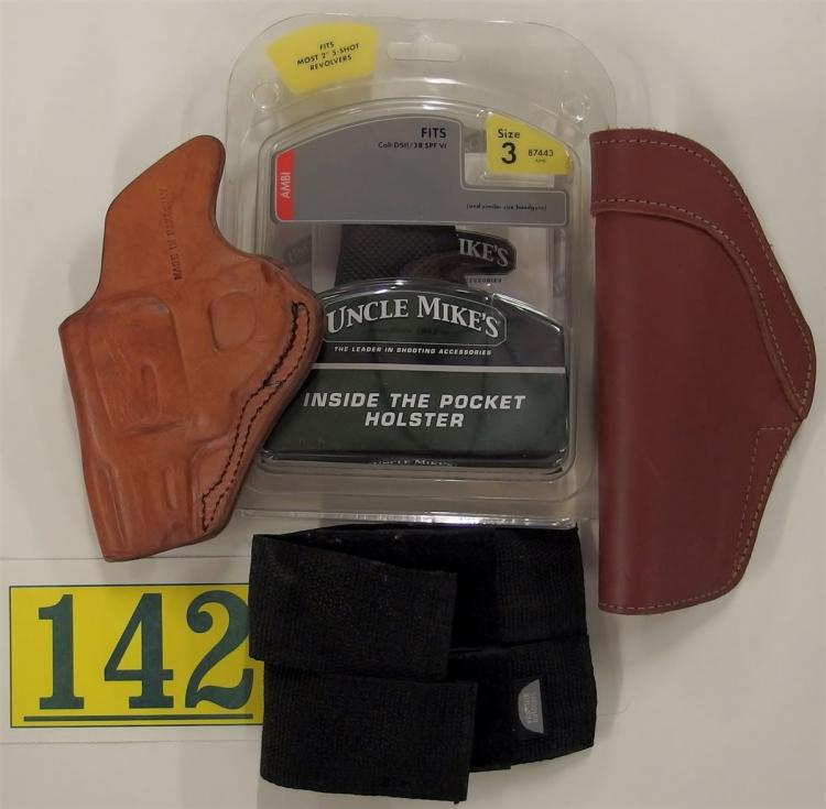 3 Assorted Holsters & Magazine Pouch