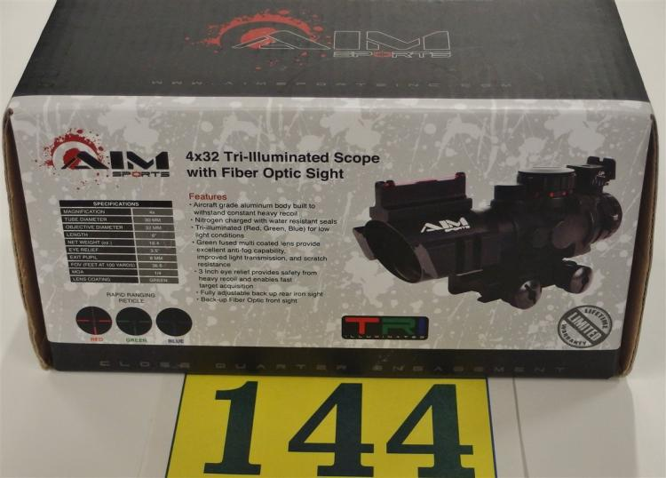AIM Sports 4x32 Tri-Illuminated Scope with Fiber Optic Sight, NIB
