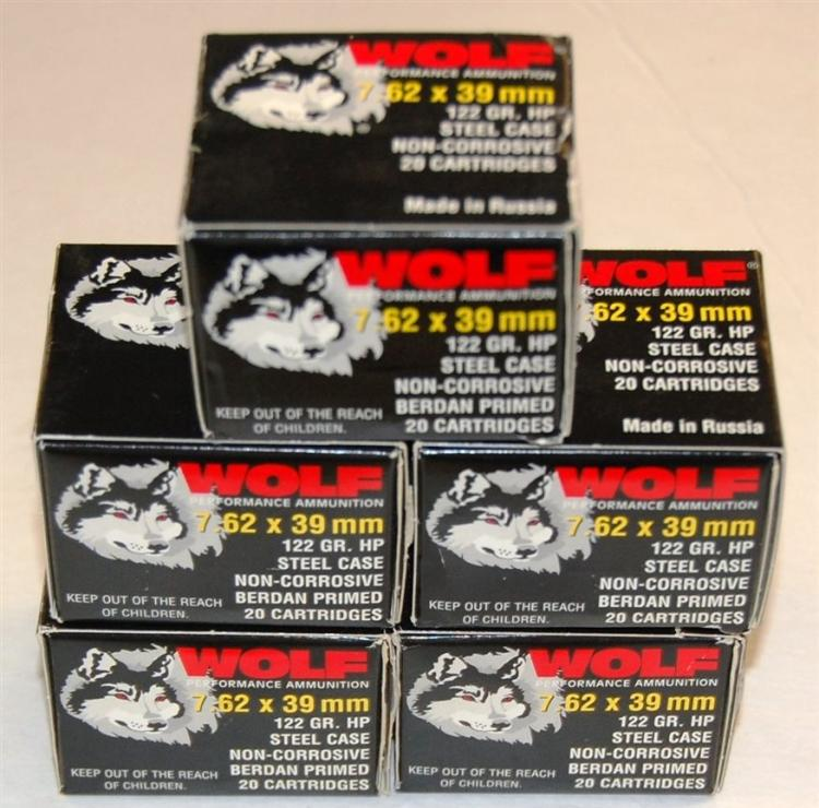Wolf 7.62 X 39 mm AK-47 Ammo, 100 Rounds