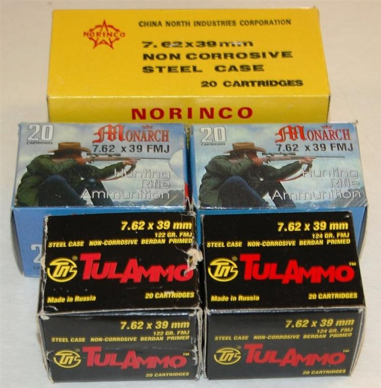 Assorted 7.62 X 39 mm AK-47 Ammo, 120 Rounds
