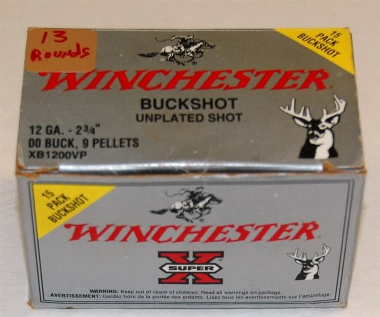 "Winchester 12 GA Shotgun Shells, 2 ¾"" OO Buck Shot, 13 Rounds"