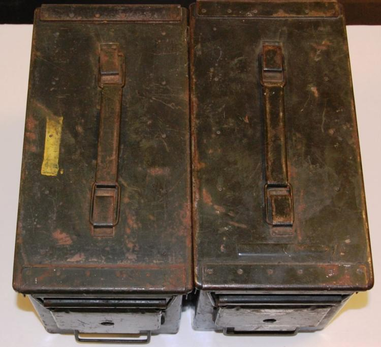 2 Large Used Military Metal Ammo Boxes