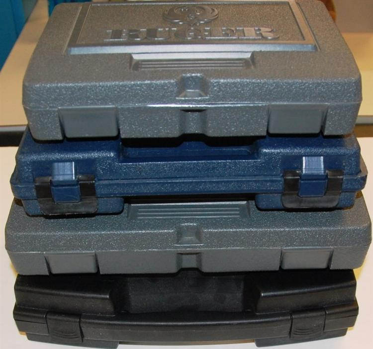 "4 Hard Plastic Pistol Cases – Assorted 9"" to 13"""