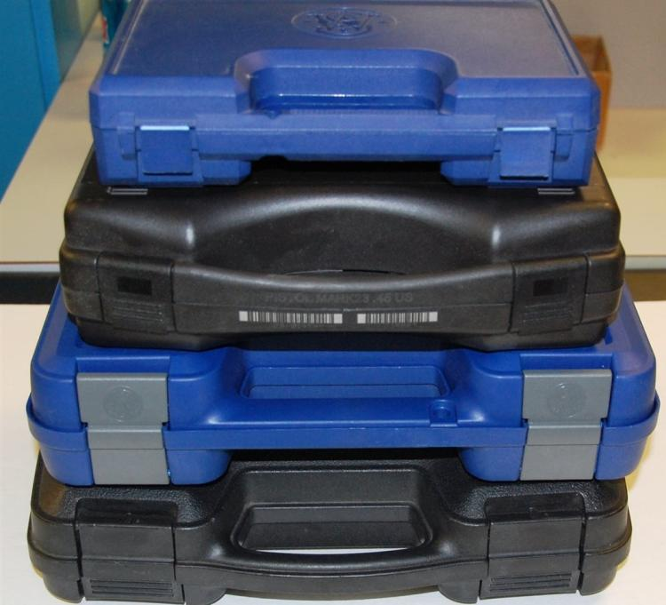 "4 Hard Plastic Pistol Cases – Assorted 9-1/2"" to 12"""