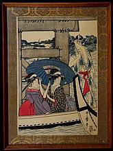 UTAMARO, KITAGAWA  (JAPANESE, 1753-1806) ON TOP AND BENEATH RYOGOKU BRIDGE, COLOR WOODBLOCK, LEFT SHEET
